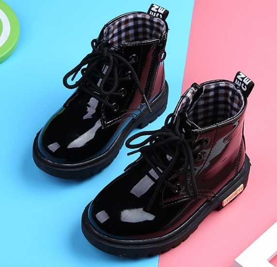 2019 ילדים חדשים נעלי עור מפוצל עמיד למים עור מגפי ילדי עור נעלי מותג בנות בני גומי מגפי אופנה סניקרס