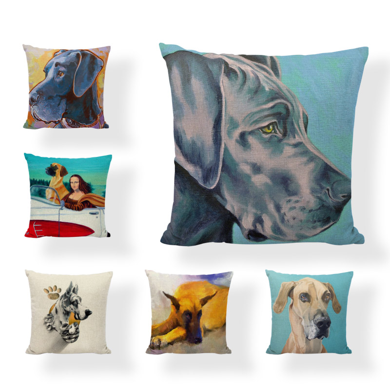 Watercolor Image Cushion Cover Cuteness Great Dane Beautiful Smile Mengnalis 17*17In Throw Pillow Decorate Home Living Room