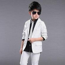 Baby Boys Black Blazer for Boys 120 130 140 150 160 CM Kids Black White Strip Clothes Kids Wedding Suits for Boys Spring 171B