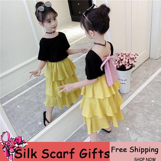 2Pcs Black T-Shirt+Yellow Dress 18m-14t Y Girls Dress Set Children Clothing Bow Backless Kids Summer Clothes Girls Cake Dress