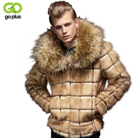 GOPLUS New Winter Men Faux Fur Coat Male Fur Turn Down Collar Plaid Design Fashion Mens