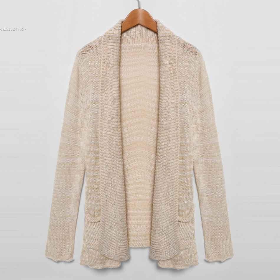 Fashion Women's Lapel Long Sleeve Open Front Pocket Cardigan ...