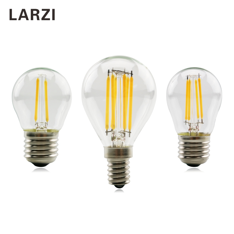 LARZI G45 E27 LED Bulb E14 LED Glass Ball Bulb AC 220V 2W 4W 6W Edison Lamp Antique Retro Vintage Led Filament Light