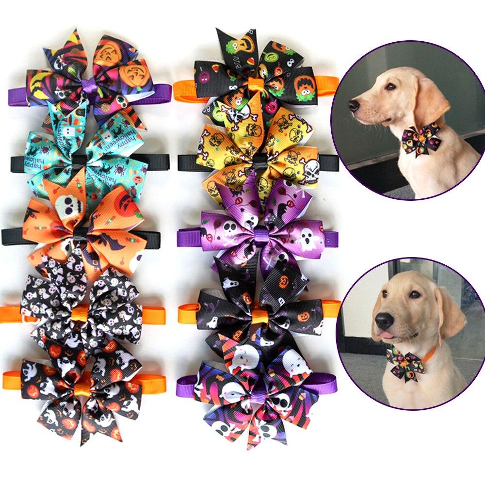 Neue 50/100 pc Hund Bogen Krawatten Halloween Weihnachten Haustier Katze Welpen Bowties Krawatten Zubehör Hund Urlaub Pflege produkte liefert