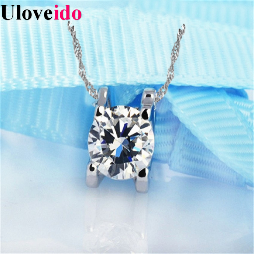 Statement Necklace Women White Round Cubic Zirconia 2017 Silver Wedding Accessories Necklaces & Pendants Choker Bijouterie N025