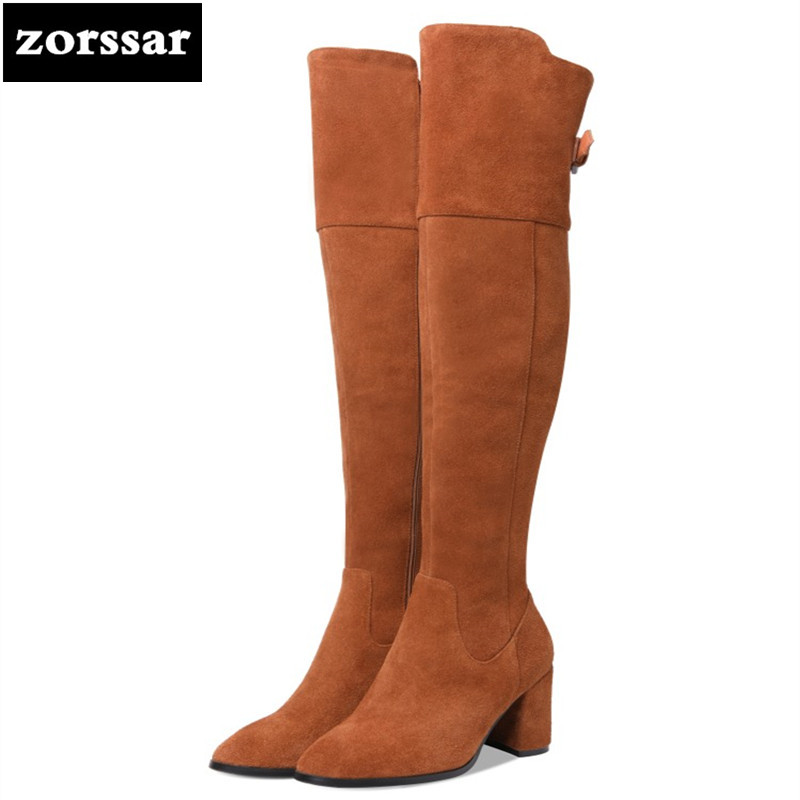 {Zorssar} Genuine Leather Women Over The Knee Boots High heel Suede snow boots fashion womens thigh high boots Winter plush Boot goncale high quality band snow boots women fashion genuine leather women s winter boot with black red brown ug womens boots