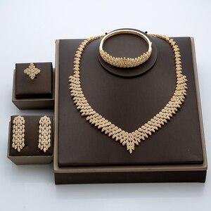 Image 2 - Hadiyana venda quente de luxo feminino nigeriano casamento conjunto noiva moda zircônia cúbico manequim conjuntos jóias frete grátis tz8022