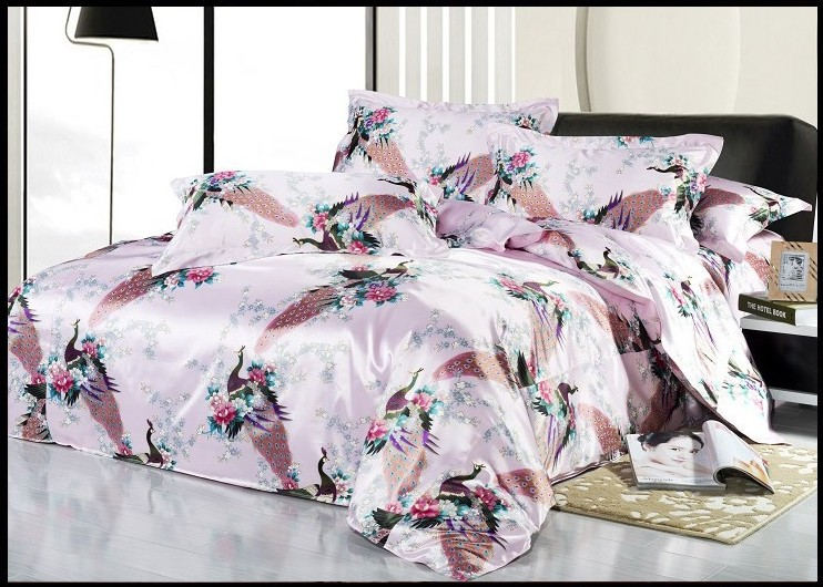 Silk Pink Peacock Bird Print Bedding Sets King Size Queen