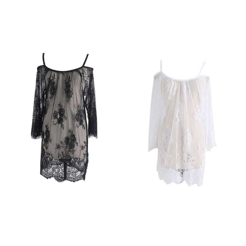1 Set Lace See Through Maternity Dresses Sleepwear Studio Clothes Pregnancy Photo Prop High Quality