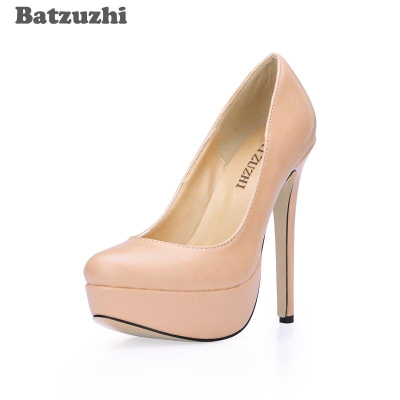 Batzuzhi 14 см extreme Высокие каблуки Для женщин Горячие пикантные женские туфли-лодочки на платформе телесного цвета и черного цвета обувь на плат...