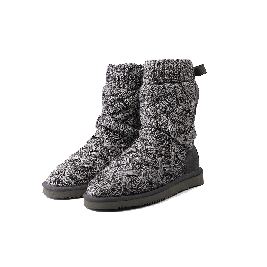 ФОТО New Knitted Nature Sheep Fur Snow Boot Winter Women Genuine Leather Lace Up Warm Flat with Plush Inside Boot Shoe High Quality