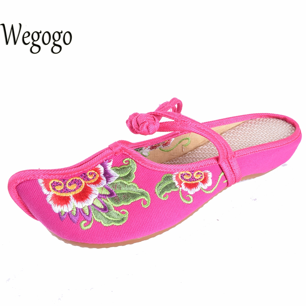 WegogoVintage Women Canvas Shoes New Linen Chassis Chinese Embroidered Old BeiJing Flowers Sandals Slippers  Plus Size 41 new women chinese traditional embroidered shoes f002