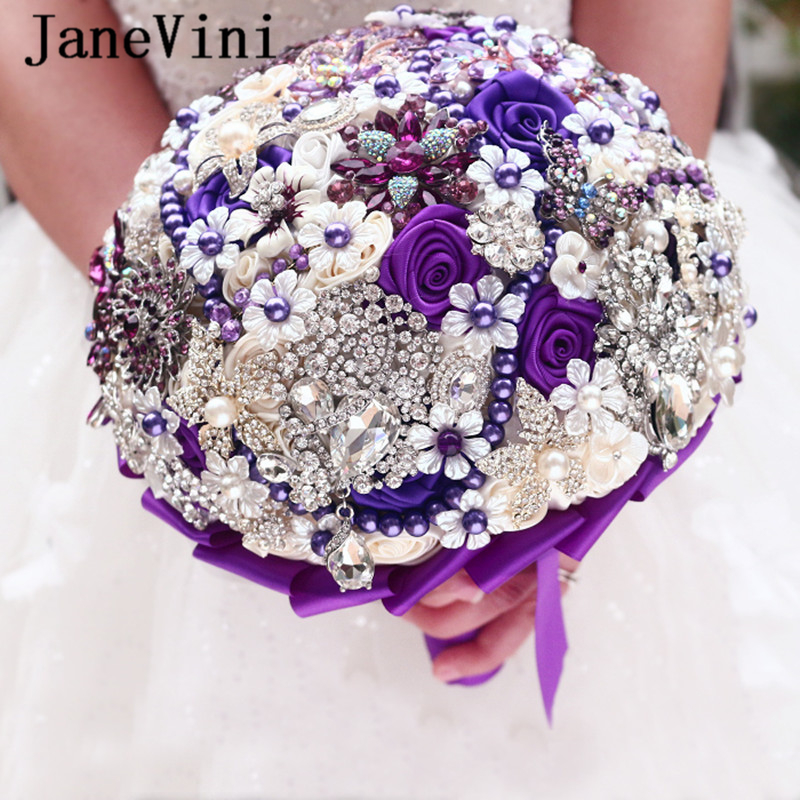 JaneVini Luxury Crystal Rhinestone Elegant Purple Bridal Holding Flowers Bridesmaid Bouquet Handmade Jewelry Wedding Accessories
