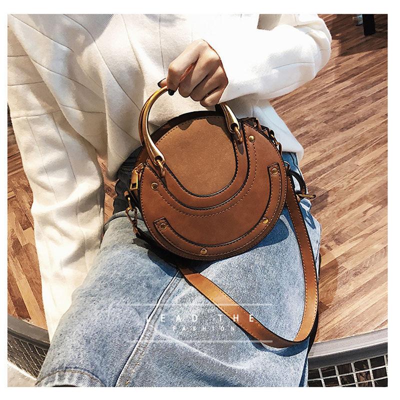 Heißer Mode Umhängetaschen für Frauen 2019 Schulter Tasche Handtasche PU Leder Frauen Messenger Taschen Geldbörse Quasten Kleine Runde Tasche - 2