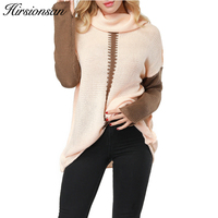 Hirsionsan Winter Sweater Women 2017 Autumn Long Sleeve Knitted Pullovers Warm Patchwork Turtleneck Pullovers Jumpers Pull