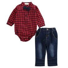 Hot Selling Infant Baby Boy Kids Autumn Clothes Plaid Long Sleeve Shirt Bodysuit Tops Jeans Denim Pants Jeans 2PCS Fashion Set