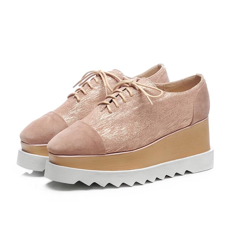 Más 42 Moda Toe Señoras Grueso Aumentó De blue up Lace Plataforma 2018 Zapatos Kcenid Vaca Tamaño Las Plana Square Suede Fondo Mujer Nuevo Apricot PqxHwUz1