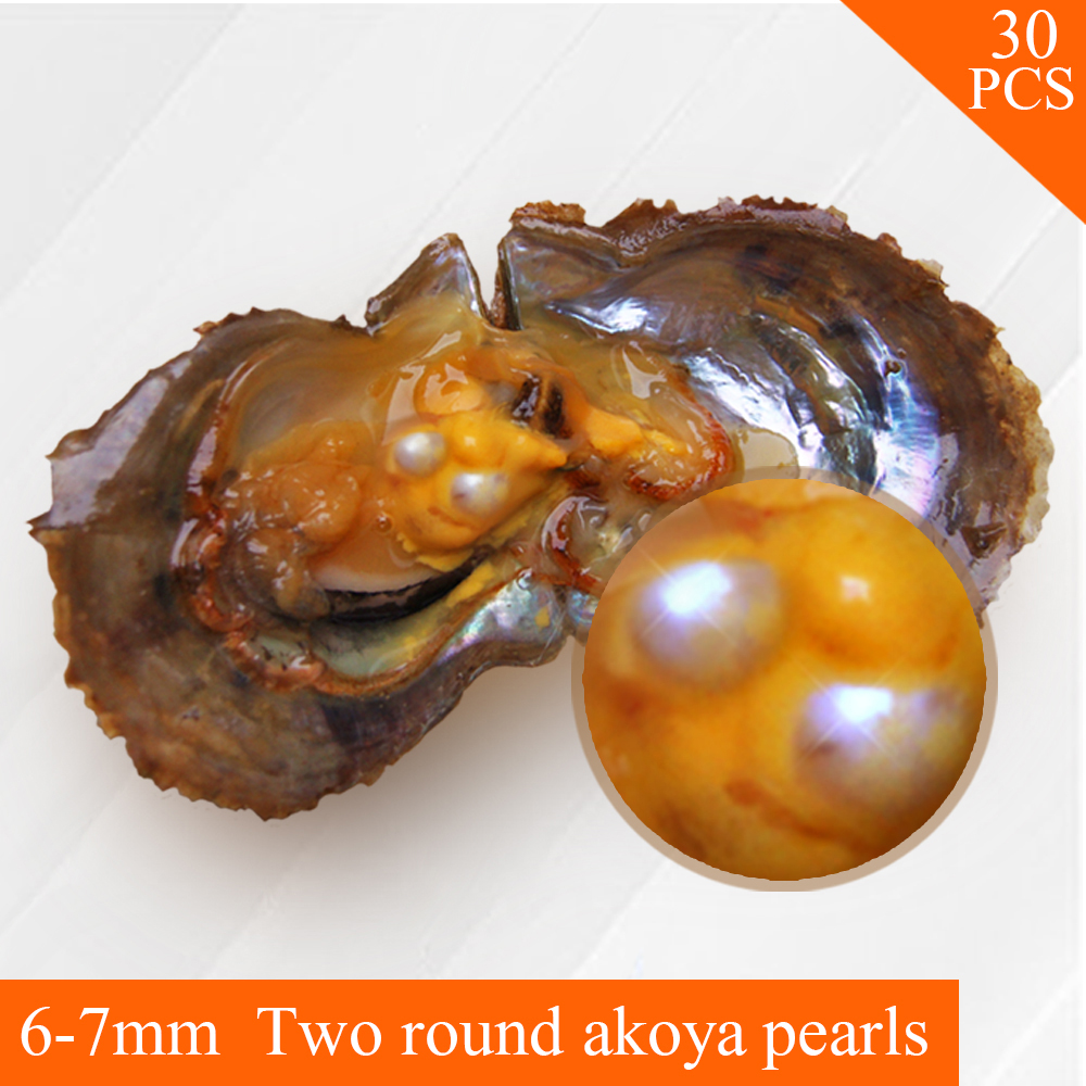 AAA 6-7mm round Akoya Twins pearl in oysters pearl oyster 30pcs, free shipping by UPS цена и фото