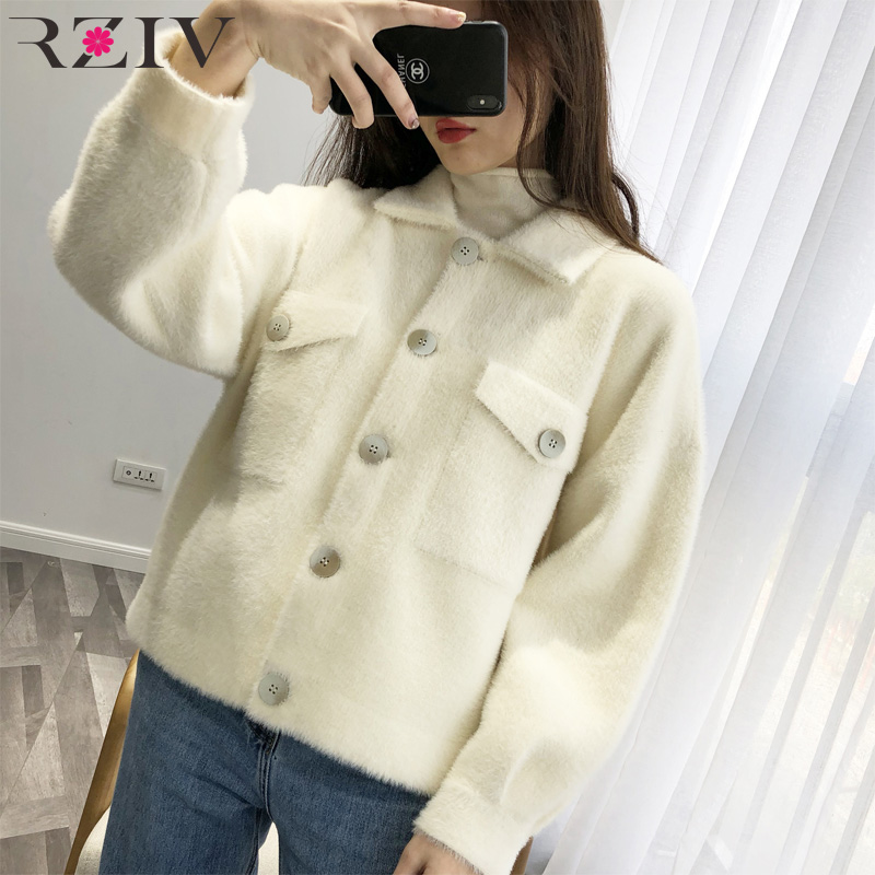 RZIV 2019 spring jacket women coat casual jacket lapel long sleeved solid color pocket decoration plush jacket-in Jackets from Women's Clothing    3
