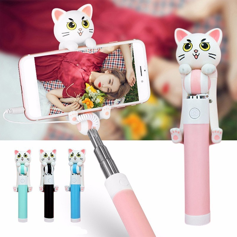 Mini Selfie Sticks Monopod Wired Extendable Cute Cartoon Cat Selfie For Smartphone Universal Portable Self-Pole for IOS Android