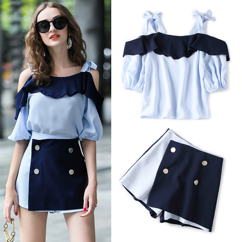 2 Pieces Womens New Summer 2018 Slash Neck Ruffles Off Shoulder Bows BLouses Tops and Patchwork Split Shorts Pants Suit NS124