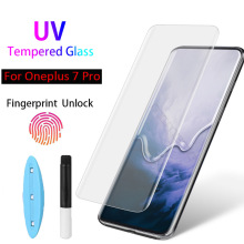 HODYEX 9D UV Liquid Curved Full Glue Tempered Glass For OnePlus 7 Pro Screen Protector Full Cover Film