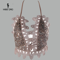 Free Shipping Missord 2015 Sexy V Lace Stitching And Sequin Tops FT3599
