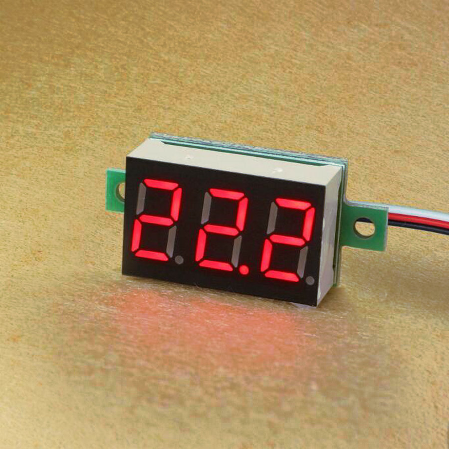 10pcs/lot 0.36'' DC 0-100V Red Blue Green LED Ampere Panel Voltage Meter Mini Digital Voltmeter DC 0V To 100V W/ 3 Wires