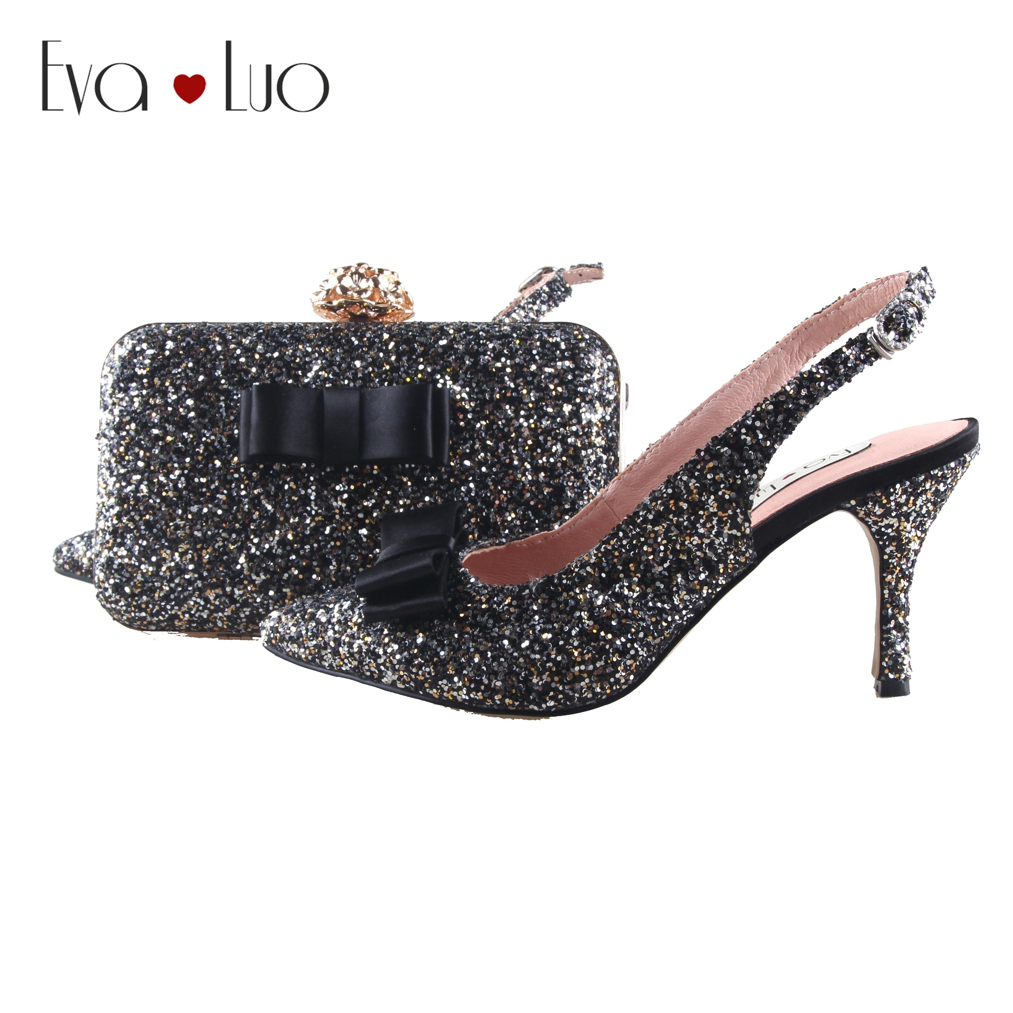 BS1014 wykonane na zamówienie czarny złoty glitter buty z pasująca torba pantofle damskie buty sukienka pompy buty ślubne dla nowożeńców w Buty damskie na słupku od Buty na  Grupa 1