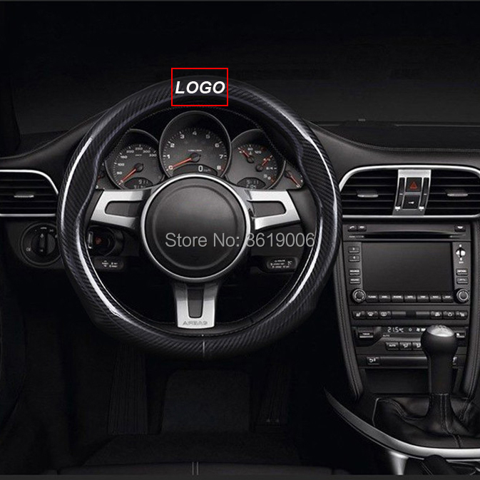smRKE Car Accessories For Lexus ES Black Carbon Fiber Leather Steering Wheel Cover Sport Racing Car Styling