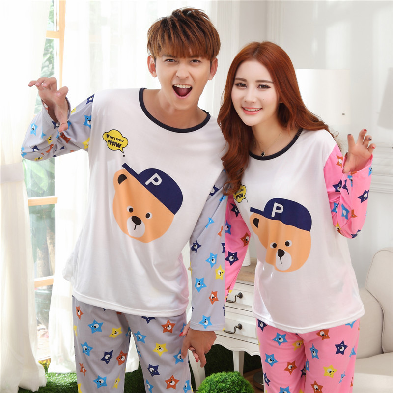 f92aeda96d New 2016 spring and autumn Lovers sleepwear silk long sleeve cartoon ...