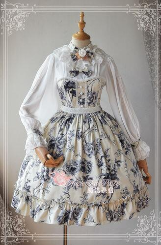 Vintage Style Blue and White Porcelain Series Printed OP Dress Long Sleeve Patchwork Classic Lolita Dress classic blue and white porcelain garden stools seat