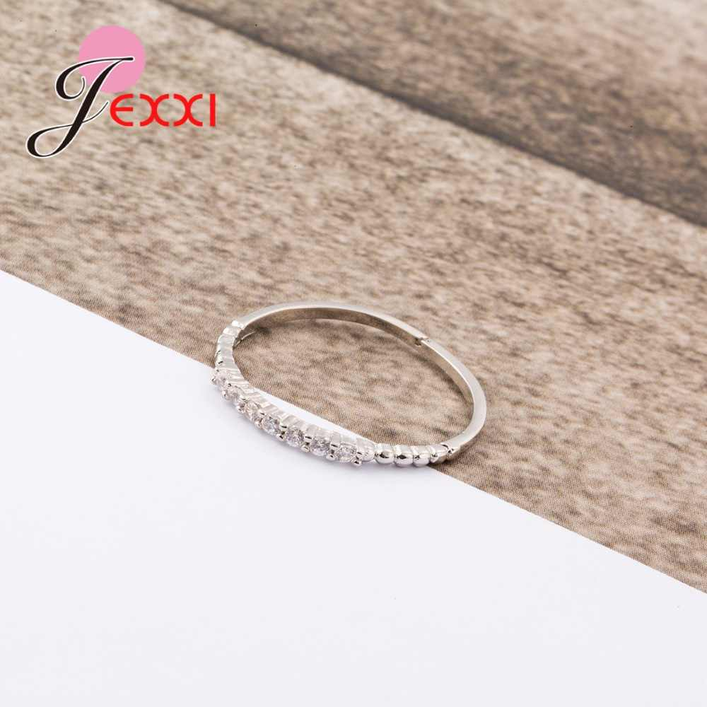 ใหม่มาถึงยอดนิยม Rhinestone เงินแท้ 925 แหวนใจกว้างที่ยอดเยี่ยมงานแต่งงานเครื่องประดับแหวนผู้หญิง