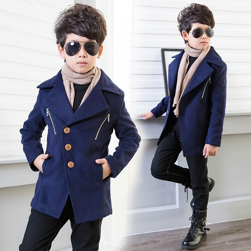 Boys woolen jacket 2018 new coat children's clothing plus cotton autumn and winter Korean version of the woolen coat free shipping 2016 autumn and winter explosion models men korean version of slim long warm hooded coat