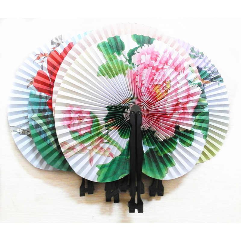 2 pçs/lote Leques De Papel de Impressão Da Flor Do Vintage Casamento Favores Do Presente Do Partido Mão Chinês Fan Folding Fantasia Flores Handheld Fã Dança