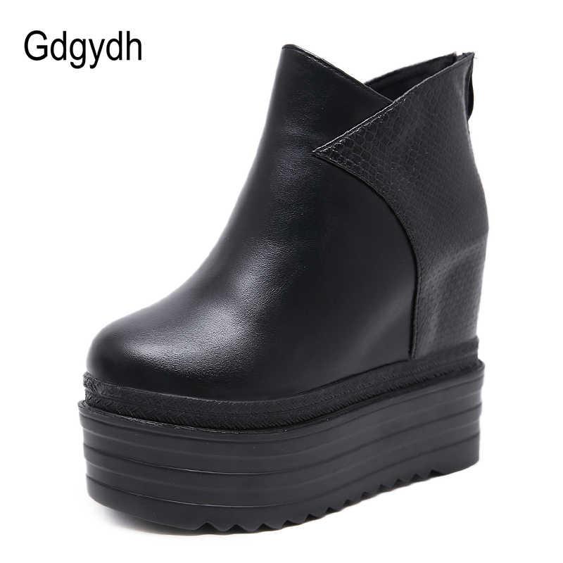 Gdgydh หญิงแพลตฟอร์ม Wedges รองเท้าฤดูใบไม้ร่วงสีดำรองเท้าบูทข้อเท้าสำหรับรองเท้าส้นสูงสุภาพสตรีรองเท้าหนังกลับซิปจัดส่งฟรี