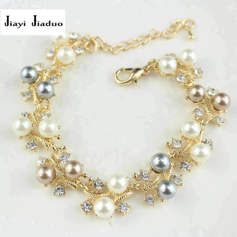 jiayijiaduo Simulation pearl bracelet ladies gold color link chain crystal bridal wedding jewelry bracelet and bracelet 812