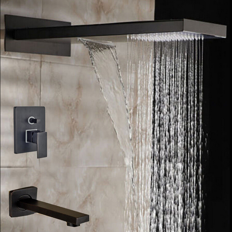 Wholesale And Retail 21.6*9 Oil Rubbed Bronze Head Shower Rainfall & Waterfall Shower Faucet 2 Ways Valve Mixer Sprayer