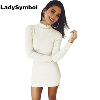 LadySymbol Knitted White Sexy Bodycon Dress Women Winter 2017 Long Sleeve Slim Casual Elegant Short Party