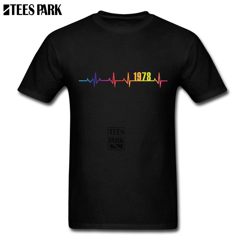 40th Birthday Gift 1978 Heartbeat Mens Designer T Shirts Male Round Neck Tees Oversize Style Fathers Day Idea