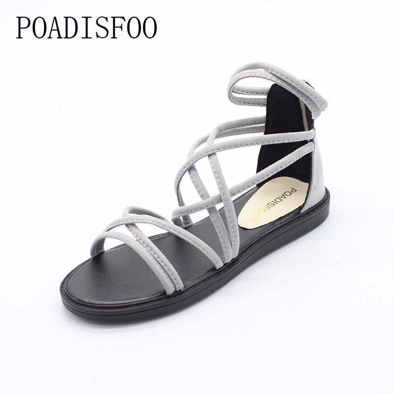 POADISFOO WOMEN Summer style flats sandals Black grey color snadals Bohemian style sandals  .HYKL-A081 poadisfoo 2017 new summer style slip on women sandals flats for women black white color slippers shoes women hykl 1603