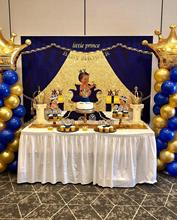 NeoBack Royal Blue Baby Shower Backdrop Welcome Little Prince Photo Background Gifts and Gold Crown Backdrops kate blue snow photo backdrop christmas with trees bokeh light backdrops fotografia washable and seamless baby shower backdrop