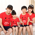 2016 Summer Family Matching Outfits Short Sleeve T-shirts Mother Father Baby Son Daughter Cute Clothes Smile Cotton Family Look