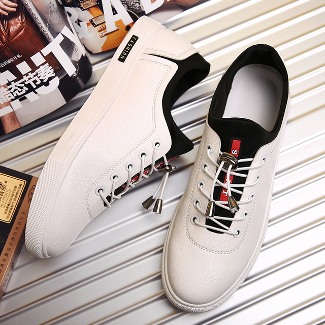 MWSC New Design Male White Shoes PU Leather Flat with Leisure Men's Classic Hasp Fashion Casual Shoes