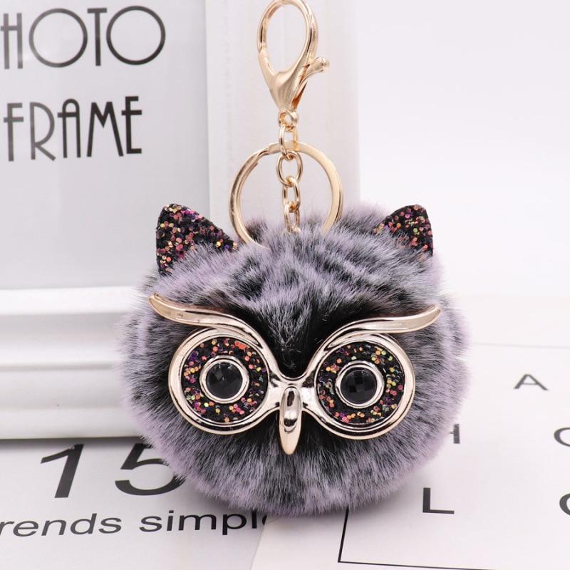 Soft Keychain Faux Fur Owl Handbag Hanging Fluffy Pompom Charm Pendant Ball Gift