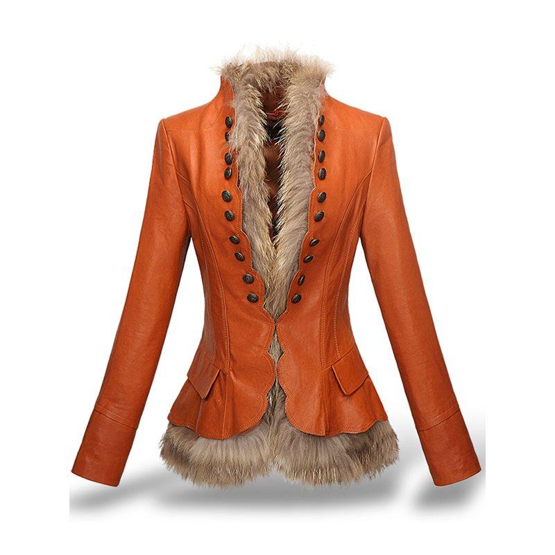 Vêtements Luxe Chic Bouton Mode Faux De Orange Femelle Manteau Vestes Chaude Chaud Femmes coffee En Vintage Élégant Mince Hiver Épais Cuir Fourrure PwUvfPq