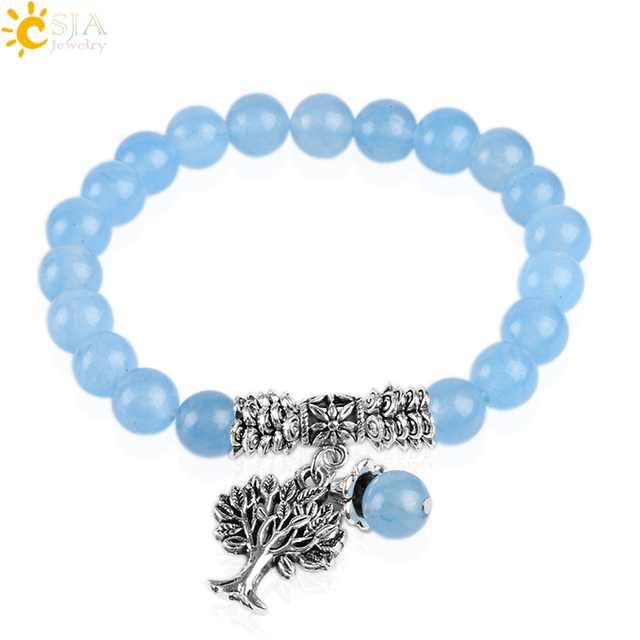 d2e195be6e04a CSJA Natural Blue Gem Stone Crystal Bracelets Tree of Life Mala Rosary Beads  Lucky Reiki Energy Elastic Prophetic Bracelets E740