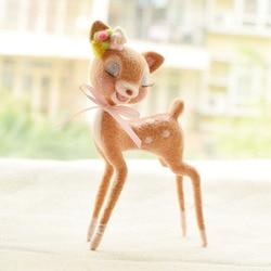 1 set deer Wool Felt Craft DIY Non Finished Poked Toy Doll Animal Set Handcraft Kit for Needle Material Bag Pack Shiba Inu Set
