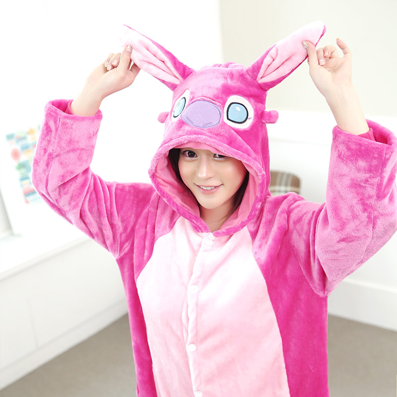 Stitch cartoon animal lounge autumn and winter lovers coral flannel one piece sleepwear