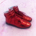 2016 MMM mens shoes high top Genuine leather shiny red man shoes 39-47